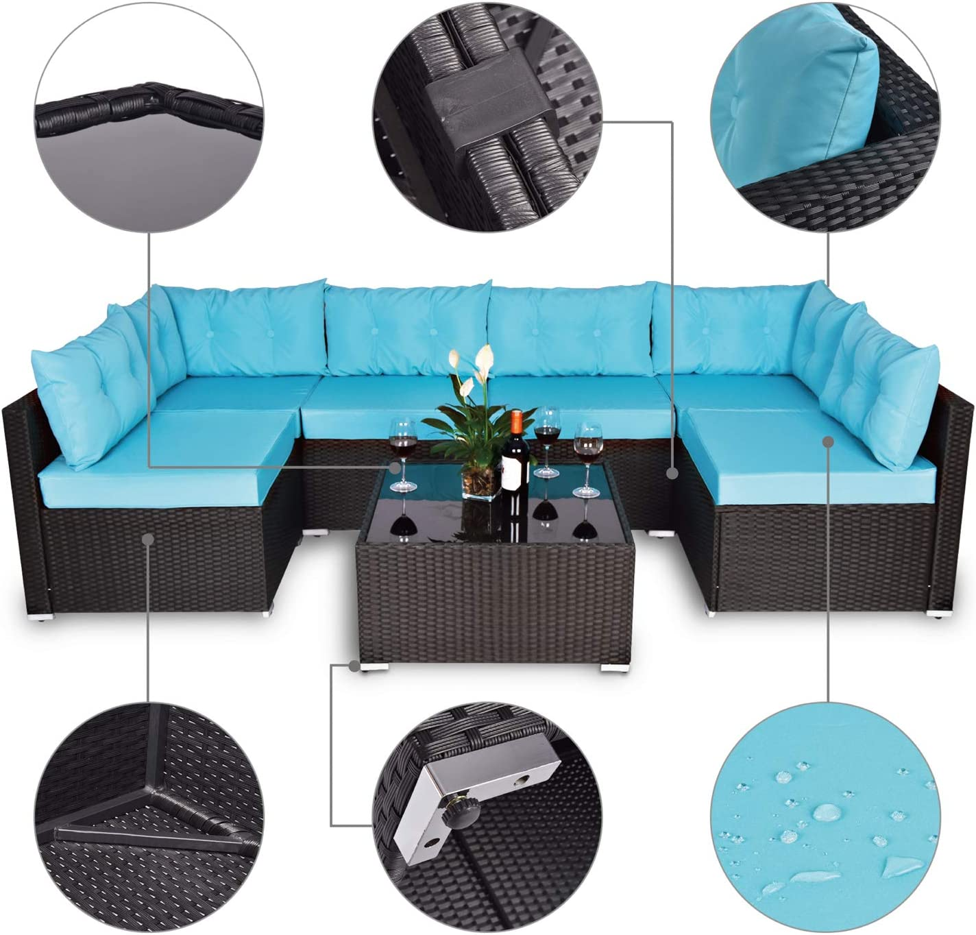 Amooly 3 Pieces Patio PE Rattan Sofa Set Outdoor Sectional Furniture Wicker Chair Conversation Set with Cushions