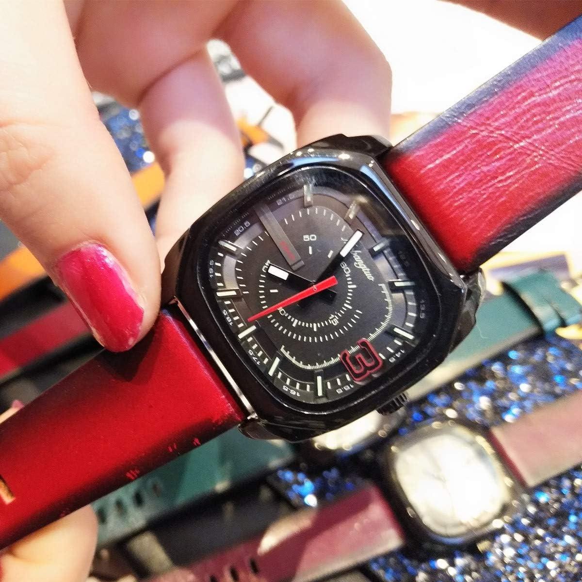 WZFCSAE Cuadrado Moda Pareja Reloj Neutro Luminoso Reloj Correa De Cuero Vintage Reloj Impermeable Rojo Grande