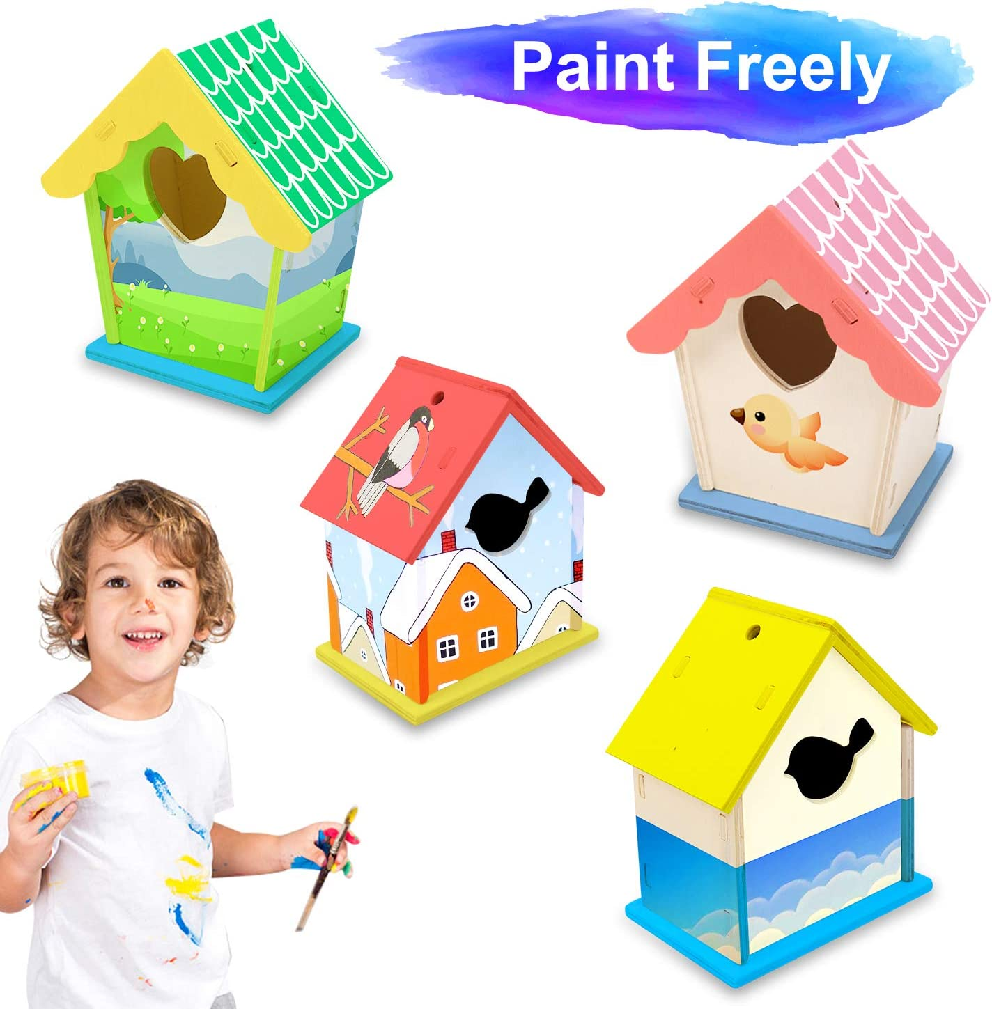12 Paints+ 2 Brushes Unfinished Bird House for Kids to Build and Paint 2 Pack Wooden DIY Bird House Kits for Kids Crafts Wood Arts for Boys Girls Ages 3-8