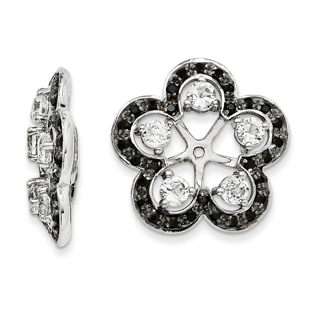 ICE CARATS 925 Sterling Silver White Topaz Black Sapphire Earrings Jacket Birthstone April Fine Jewelry Gift Set For Women Heart
