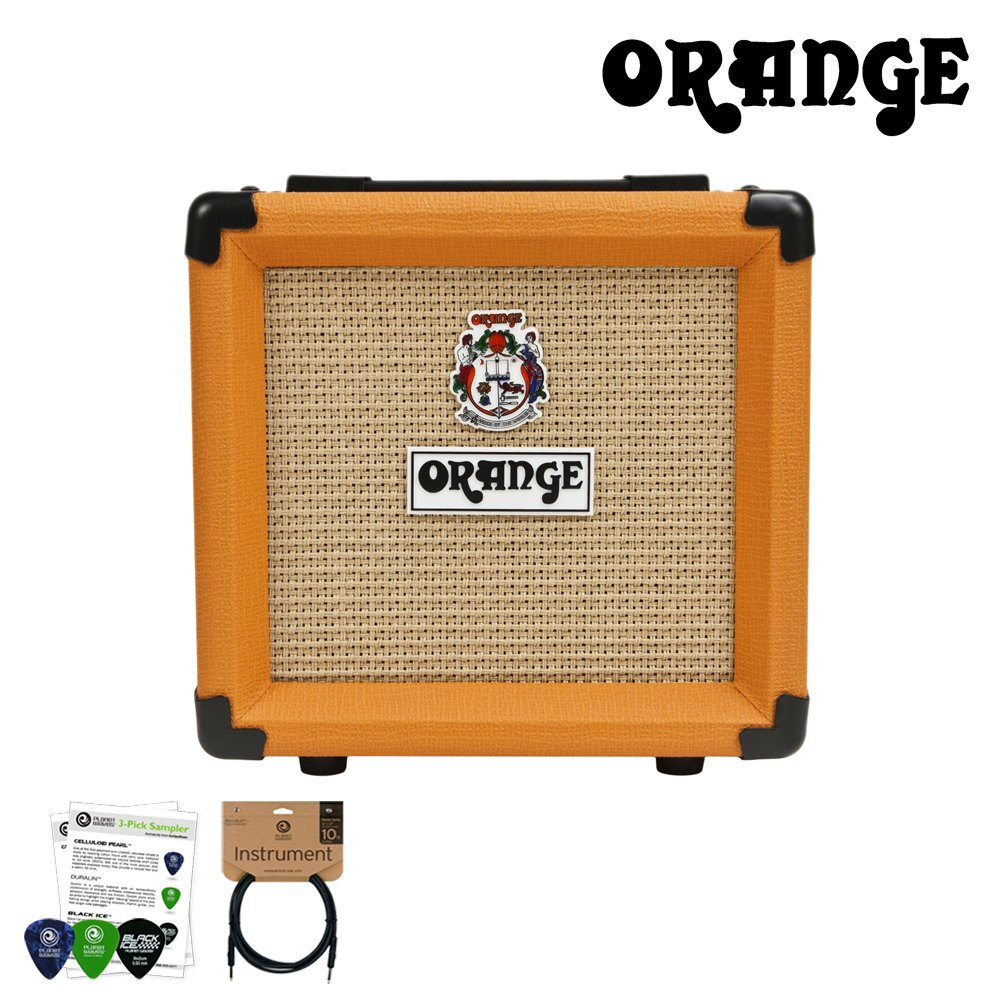 Orange PPC108 1x8'' Speaker Enclosure with ChromaCast 10ft Pro Series Cable & 4 Pick Sampler