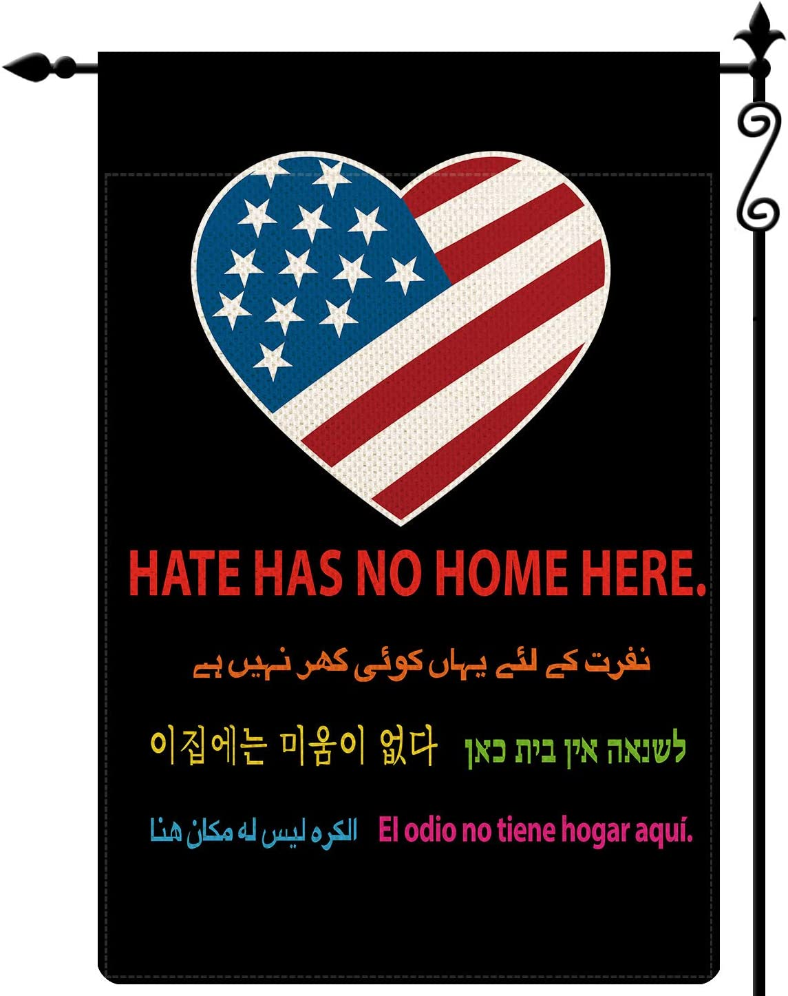 WHOO Hate Has No Home Here Garden Flag American Flag Patriotic Stripes and Stars Flag Vertical Double Sided Rustic Farmland Buffalo Check Plaid Burlap Yard Lawn Outdoor Decor 12.5x18 Inch