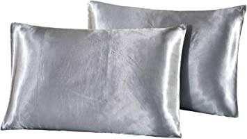 Ubitree Satin Pillowcase for Hair and Skin 2 Pack Polyester Microfiber Soft and Cozy Pillow Cases Hypoallergenic Wrinkle Free Envelope Closure Pillow Cover Standard Size 20x26 Off-White