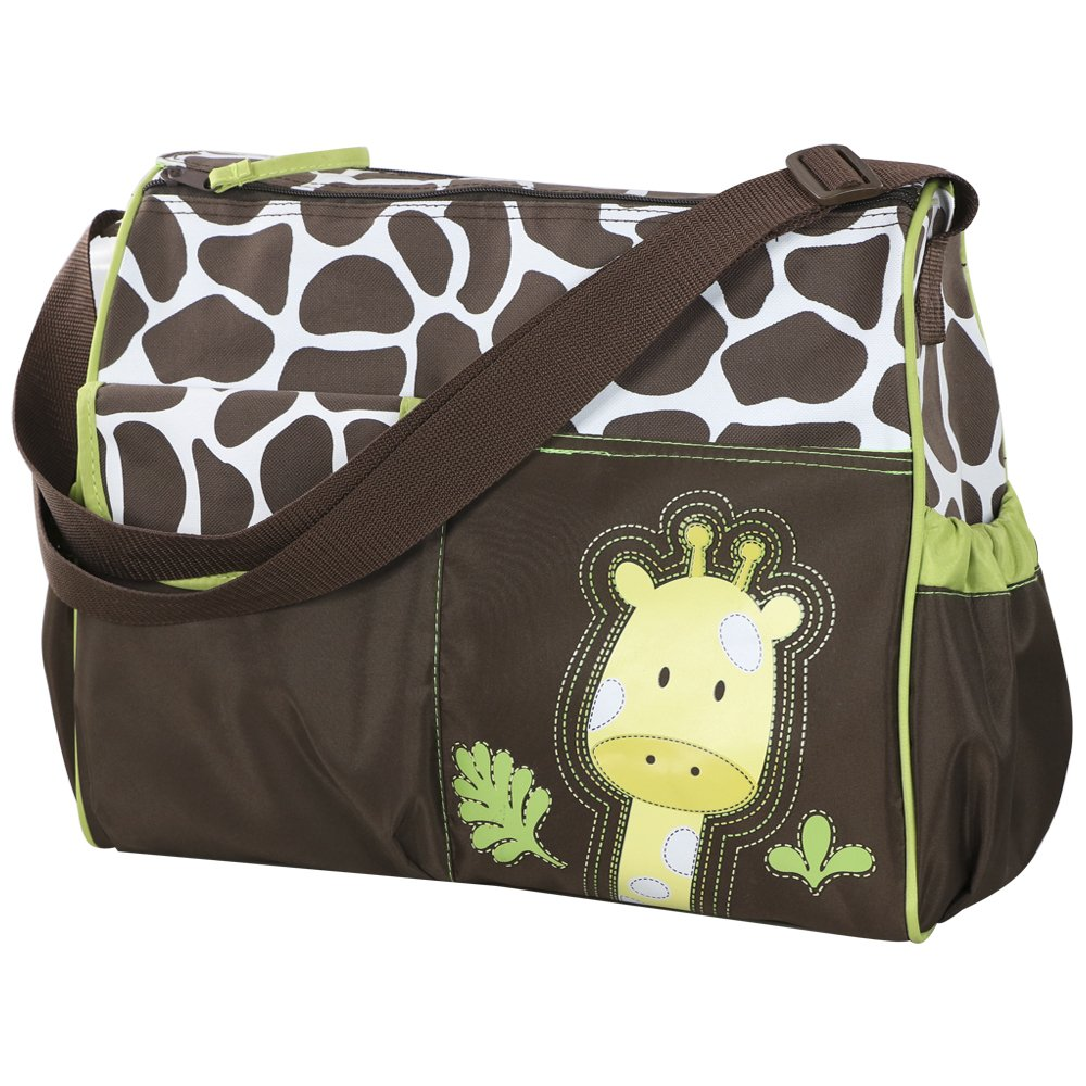 Accessotech Waterproof Baby Diaper Nappy Mummy Changing Handbag Shoulder Bag with Mat Travel (Giraffe Green)