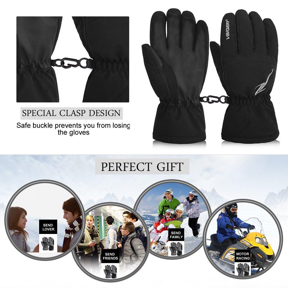 Vbiger Winter Ski Gloves Waterproof Outdoors Sports Gloves Warm Snow Gloves for Men Women