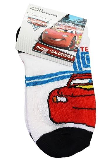 Disney Pixars Cars Lightning McQueen White/Black Kids Socks (Size 4-6,