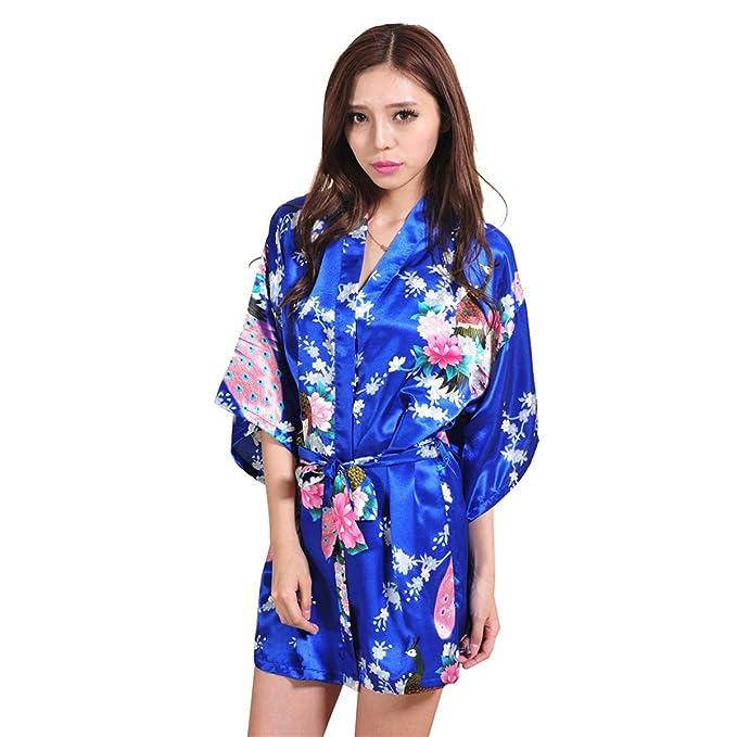 QIN JU Mujer japonés Kimono Robes Pavo Real y Flores Satén Ropa de baño Pijamas Camisón