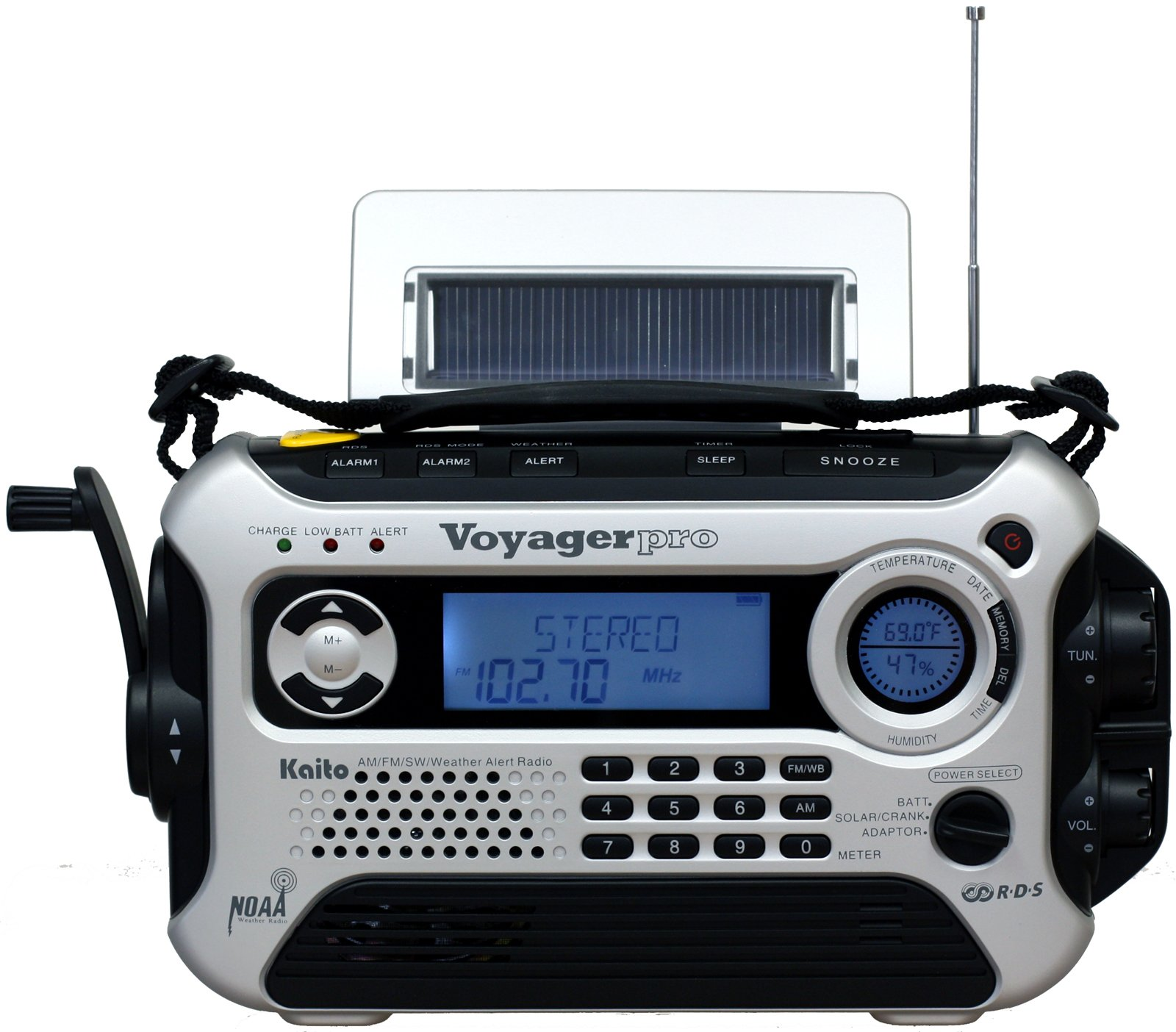 Kaito Voyager Pro KA600 Digital Solar/Dynamo AM/FM/LW/SW & NOAA Weather Emergency Radio with Alert & RDS, Silver by Kaito