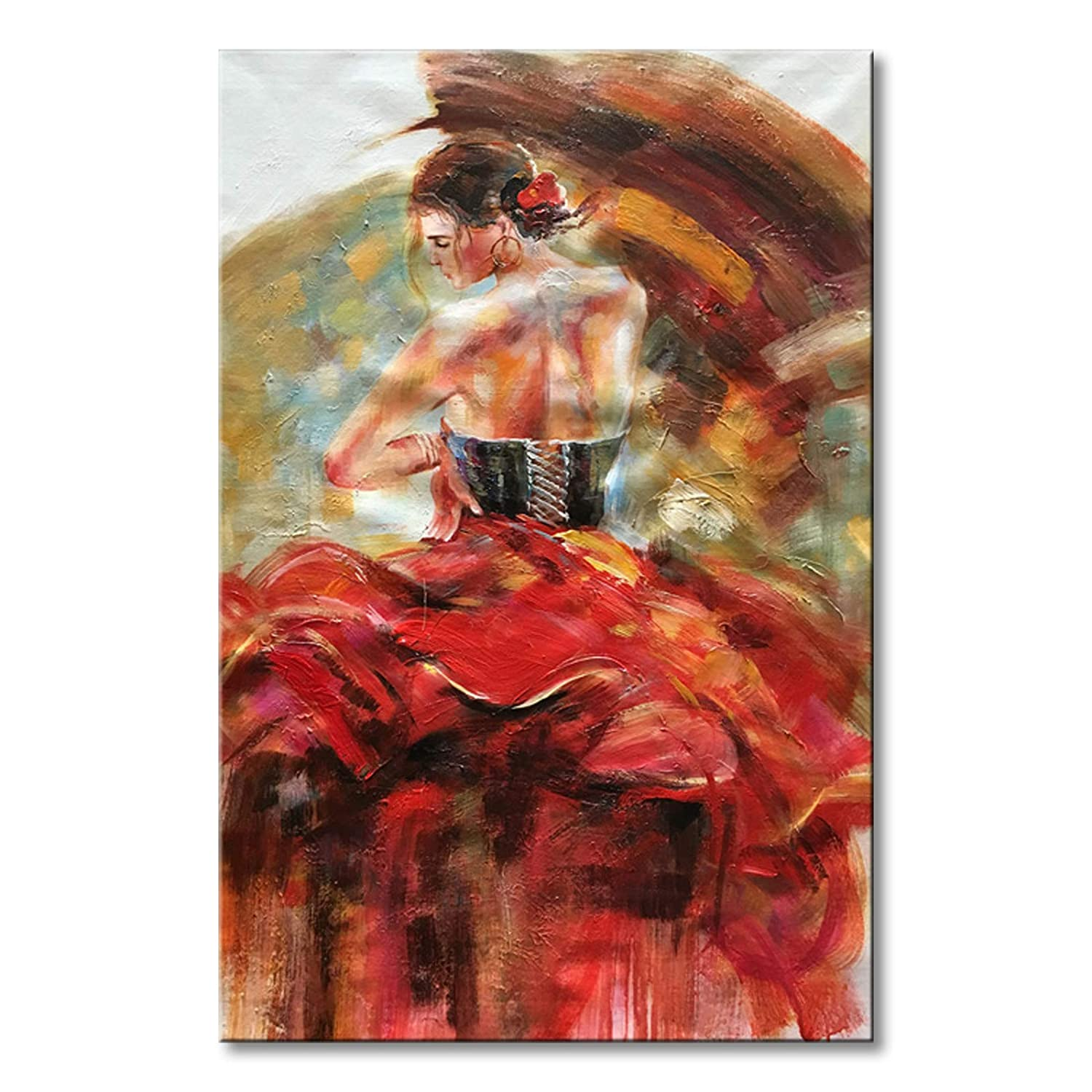 Seekland Art Hand Painted Red Sexy Girl Abstract Canvas Wall Art Impression Figure Oil Painting Modern Contemporary Artwork Fine Pictures Unframed (2024 inch) Seekland Painting