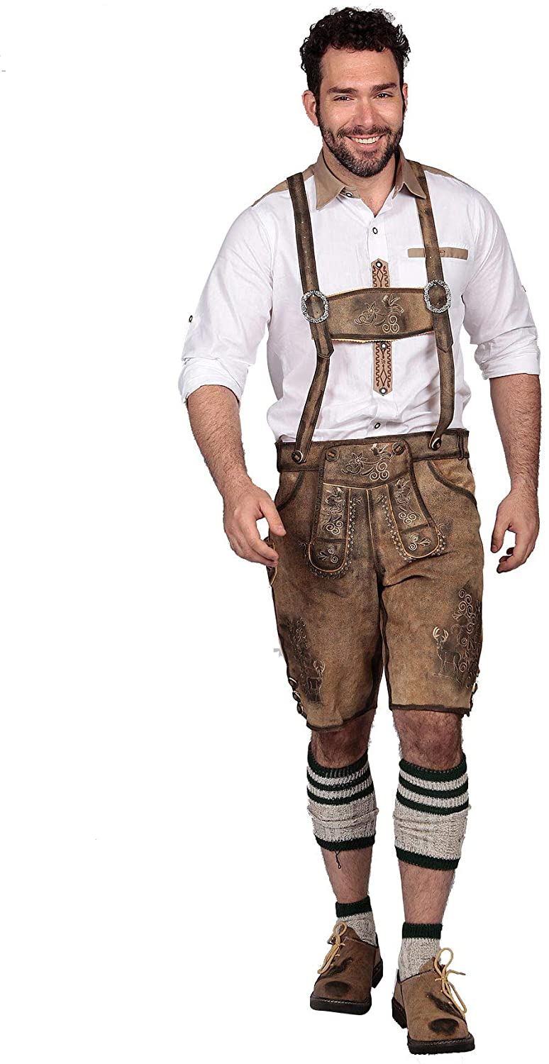 Oktoberfest Bavarian Herren Short Lederhosen for Men | Traditional Authentic German Outfit