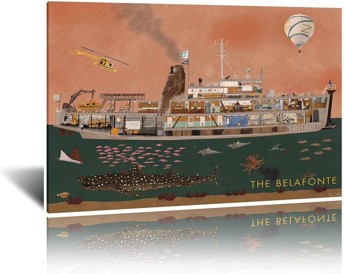 Belafonte The Life Aquatic Wall Art Canvas Painting Poster and Pictures for Office Hospital Living Room Bedroom Décor 50x70cm Framed (colorful,50x70cm-framed)
