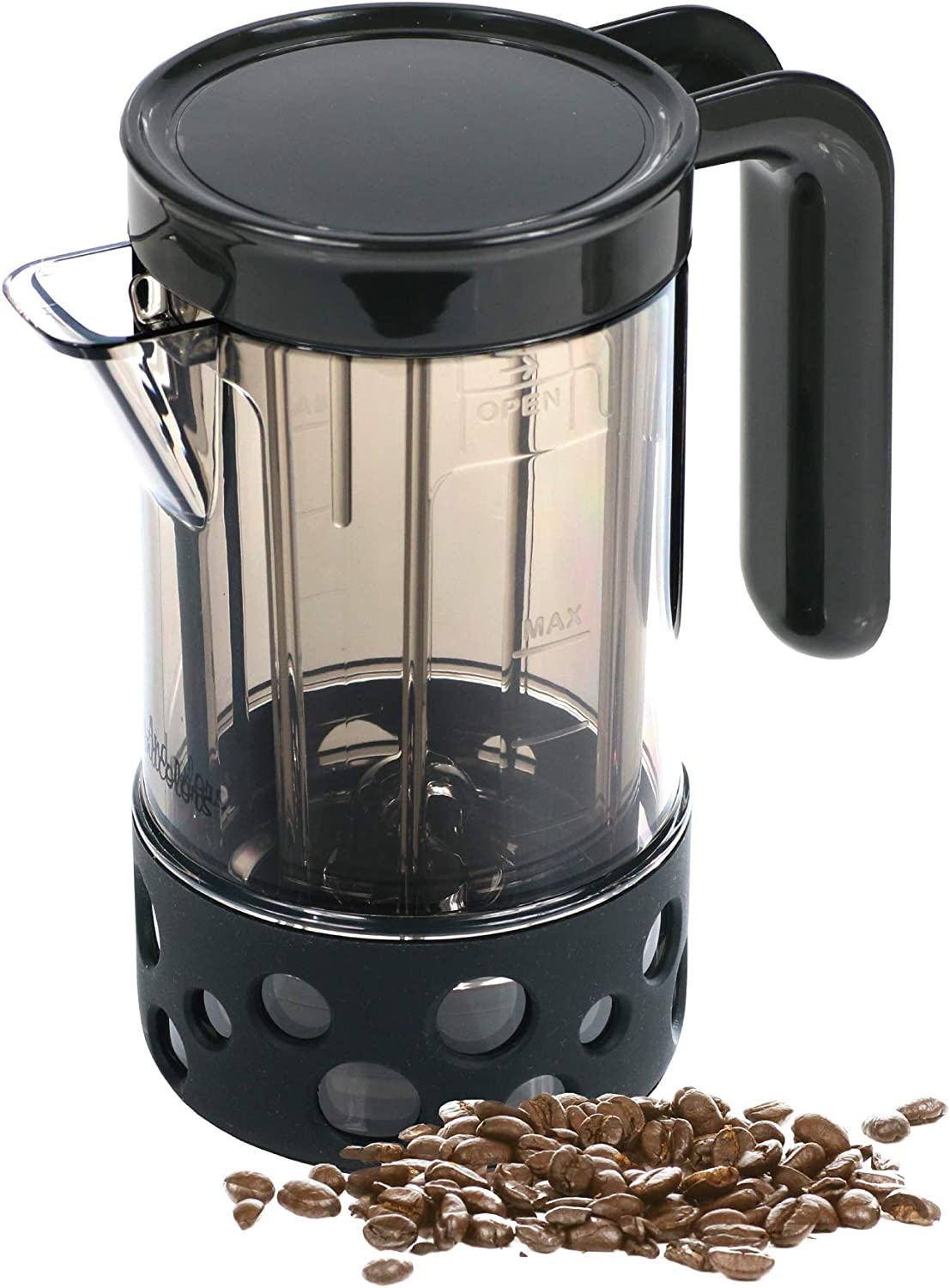 Andcolors French Press Coffee-maker Coffee Press 2 cups 17 oz – High Grade Stainless Steel Mesh Filter – BPA Free Heat Resistant Pot Dishwasher Safe Black, Silicone