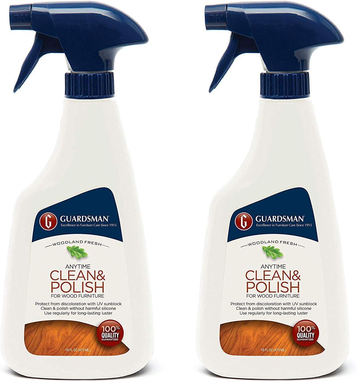 Guardsman Clean & Polish For Wood Furniture - Woodland Fresh - 16 oz Spray - Silicone Free, UV Protection - 2 Pack