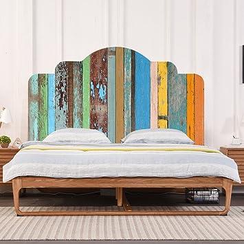 Farben Vintage Holzmaserung DIY Wandaufkleber Schlafzimmer Dekor Kopfteil  Möbel Bett Aufkleber Einfach Zu Bewerben (twin