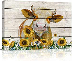 zzsunfeel Canvas Oil Painting Cattle Cow Hold Sunflowers Wall Art Rustic Wooden Vintage Farm Animal Picture Prints for Living Room Home Decor, Ready to Hang - 16x20 inches
