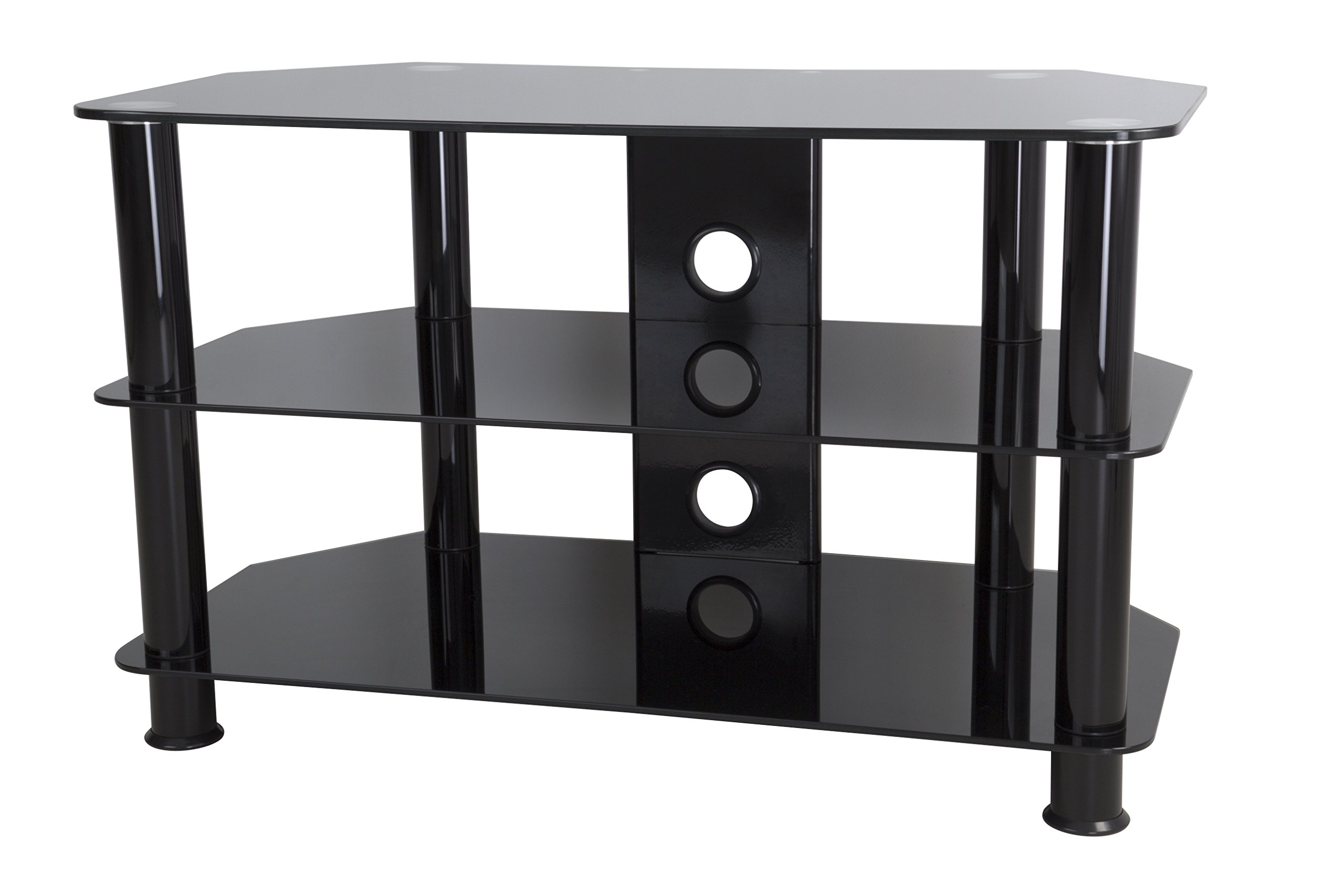 AVF SDC800CMBB-A  TV Stand for 10-inch to 42-inch TVs, Black Glass, Black Legs by AVF