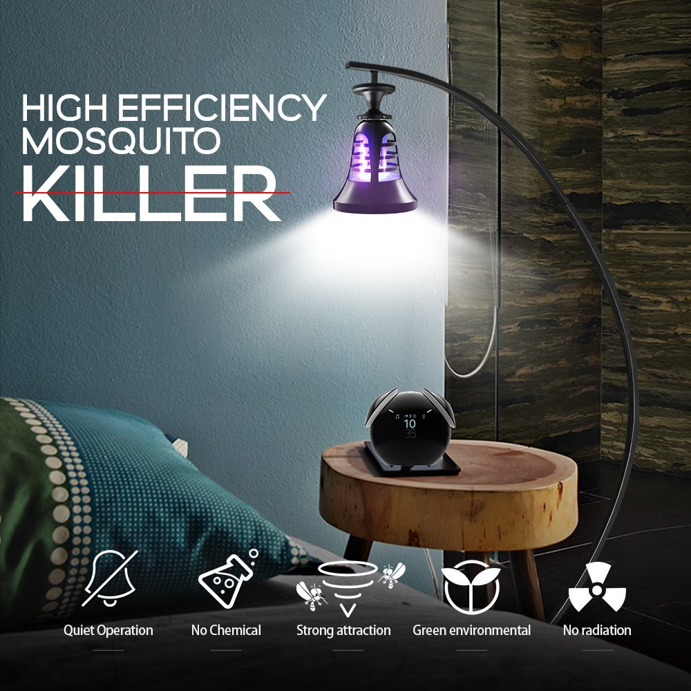 [Siuyiu] LED Mosquito Killer Lamp (Bulb) Indoor UV and LED Lighting | 2-in-1 Night Light and Bug Trap | Screw-In Design | 200 Sq. Ft. Protection | Patio, Porch, Deck Use