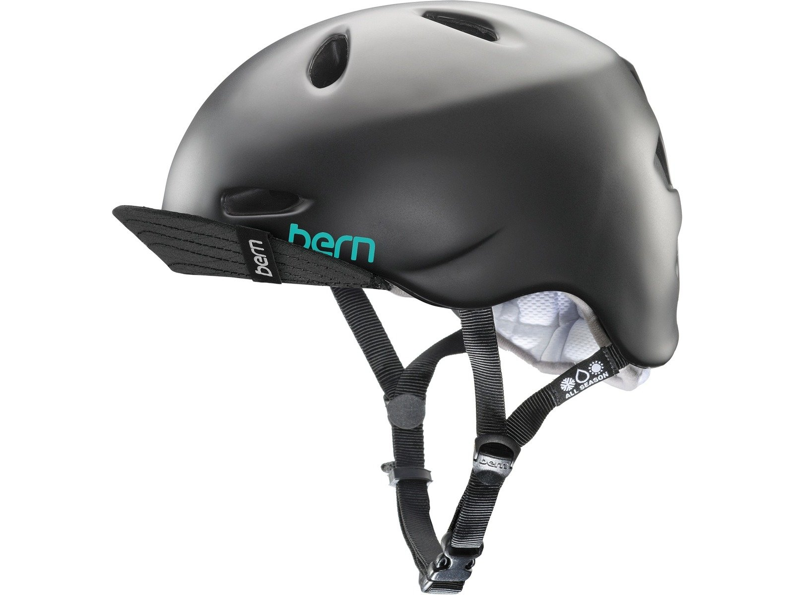 BERN Unlimited Berkeley Summer Helmet with Visor, Satin Black, Medium/Large