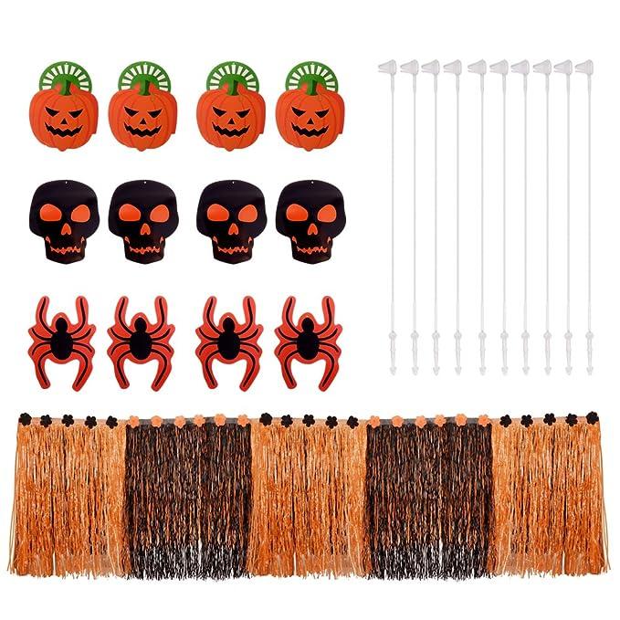 PChero 9 ft Halloween hierba mesa falda + 12pcs recortes de ...