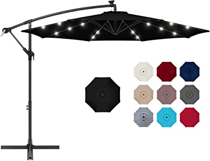 Best Choice Products 10ft Solar Led Offset Hanging Market Patio Umbrella For Backyard Poolside Lawn And Garden W Easy Tilt Adjustment Polyester Shade 8 Ribs Black Garden Outdoor