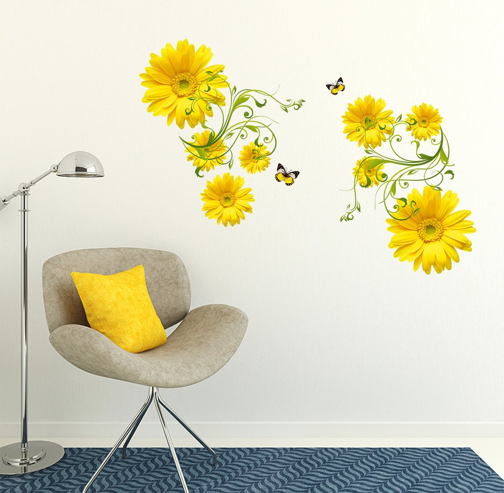 buy decals design flowers yellow daisy with green vine wall buy decals design flowers yellow daisy with green vine wall sticker pvc vinyl 50 cm x 70 cm online at low prices in india amazon in