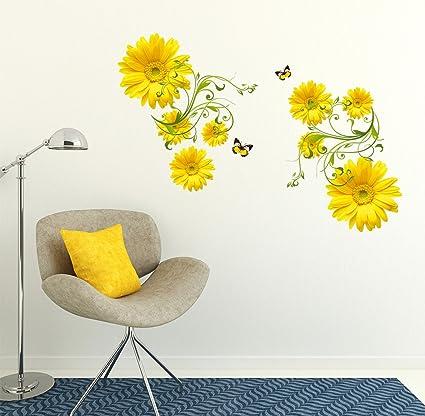 Decals Design Flowers Yellow Daisy with Green Vine Wall Sticker (PVC Vinyl, 50 cm x 70 cm, Multicolour)