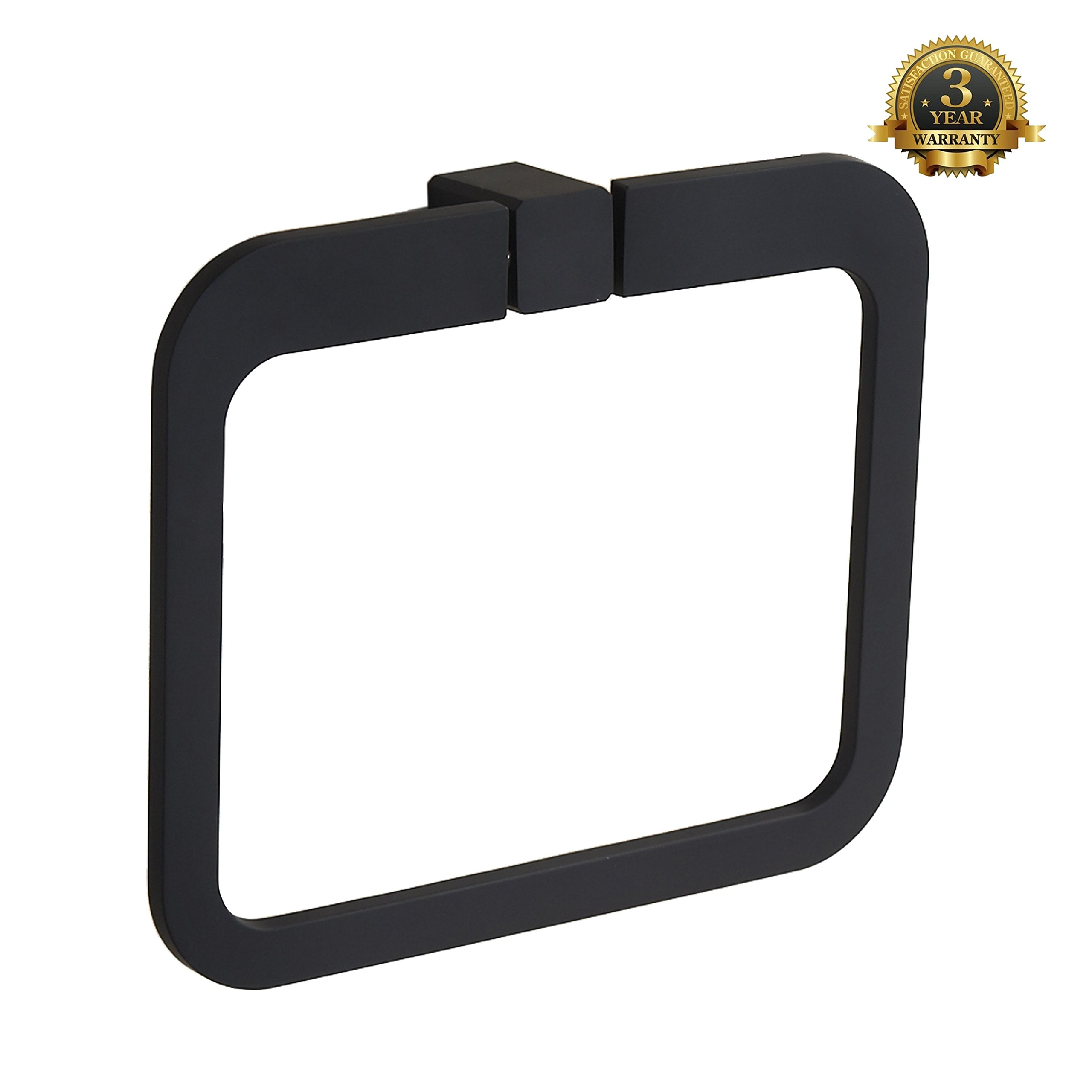 Ring Towel Hanger Bathroom Towel Ring Rack Wall Mount Towel Holder Stainless Steel Kitchen Lavatory Bath Hardware Modern Square Design, MARMOLUX ACC Burghead Series Black Finish by Marmolux Acc