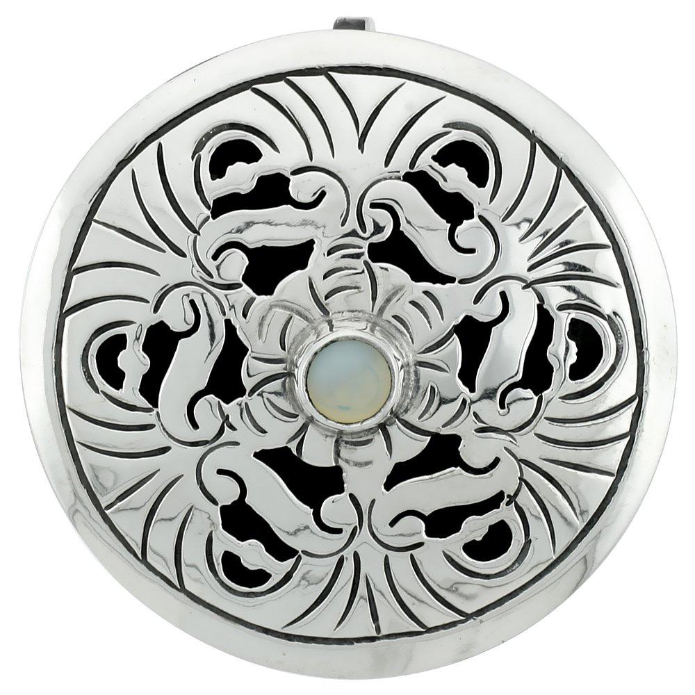 Sterling Silver Floral Mandala Brooch Pin Pendant w/ Moon Stone Crystal, 1 5/8 inch