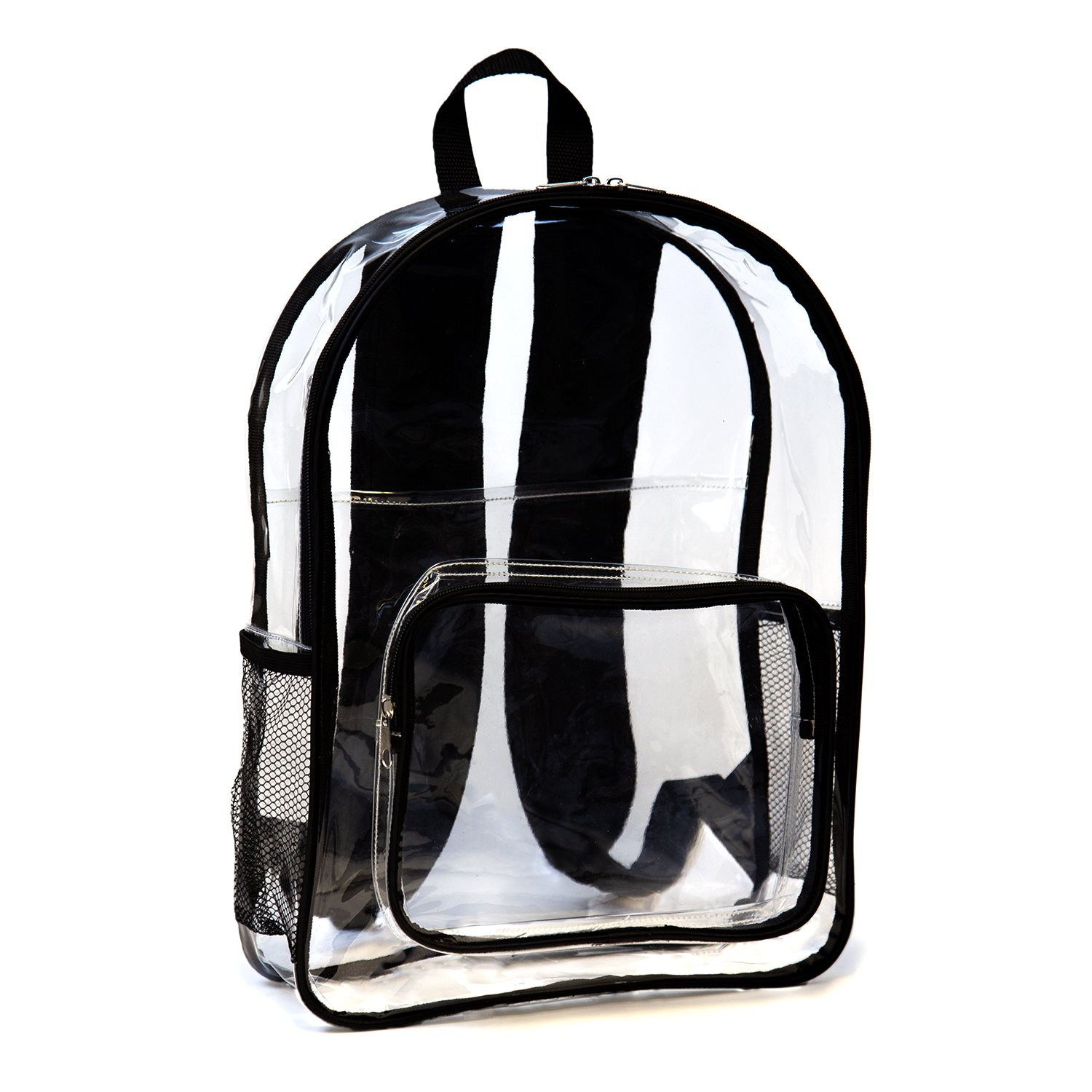 See Me - Clear Backpack with Laptop Sleeve by JumpOff Jo - Transparent, Heavy Duty Plastic Back Pack for Men, Women, and Kids - Improve Security at Work, Schools, Stadiums and Concerts