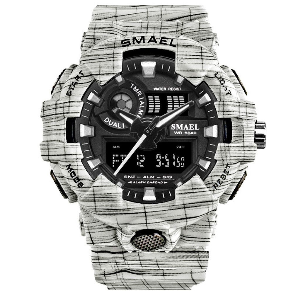 SMAEL Men's Sport Wrist Watch with Analog-Digital Display and Backlight Waterproof (White)