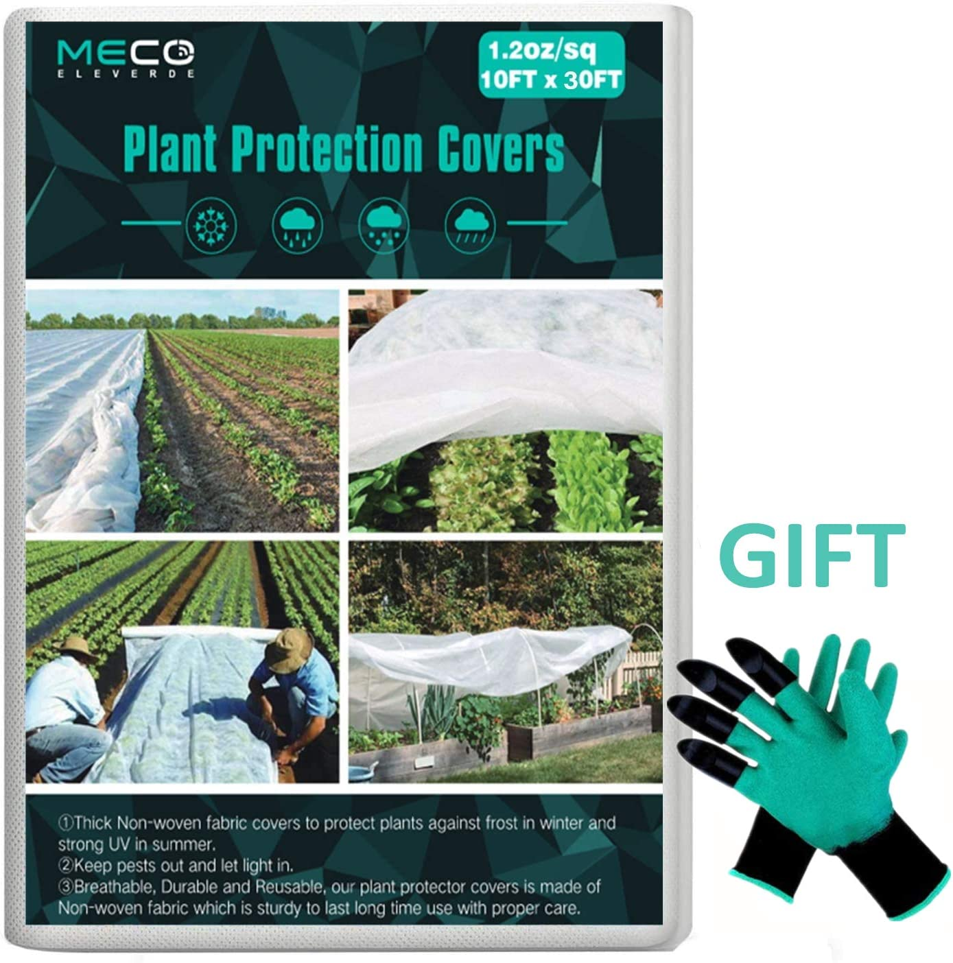MECO Plant Covers with Garden Gloves, 1.2oz 10Ft x 30Ft Floating Row Cover Fabric Freeze Protection, Winter Frost Cover Anti-Freeze Jacket Warm Blanket for Season Extension, Frost Protection