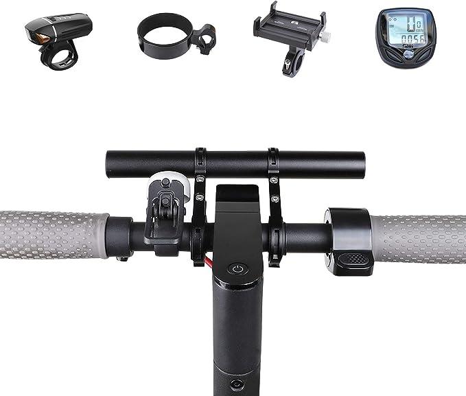 Klemme und Lange Rohr f/ür Fahrrad Tacho Mount Scheinwerfer Taschenlampe Bell Telefon Halter ZOOENIE Fahrrad Bike Lenker Extender Aluminiumlegierung Halterung Verl/ängerung