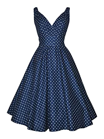 40s 50s Vintage Style Navy Blue Polka Dot Full Circle Cotton Dress ...