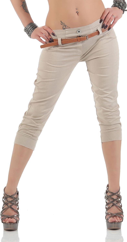 Malito Capri-Pantalones con imitación de Cuero cinturón 5398 Mujer
