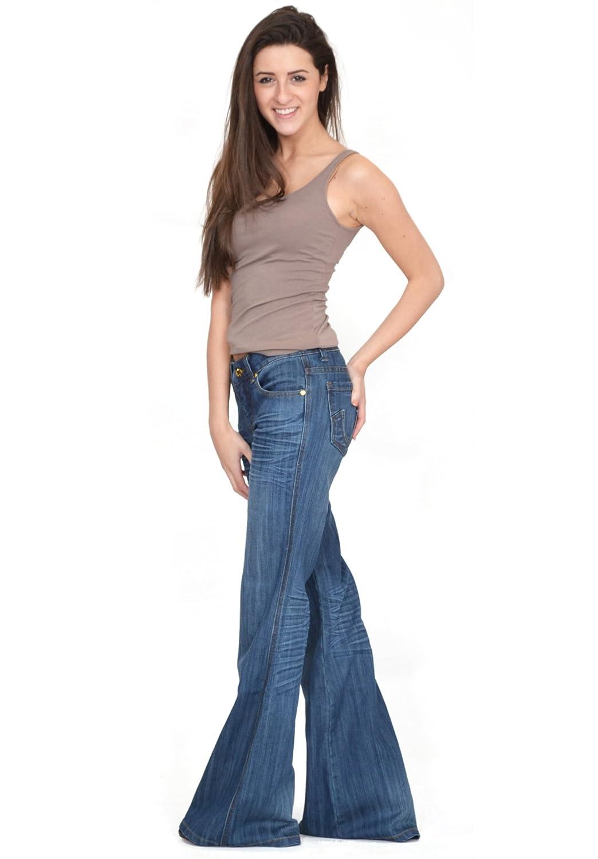 60s 70s bellbottom faded flared jeans dark stonewash blue: Amazon.co.uk: Clothing