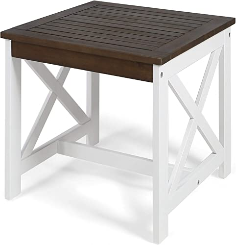 Christopher Knight Home Cassara Outdoor Farmhouse Cottage Square Acacia Wood End Table