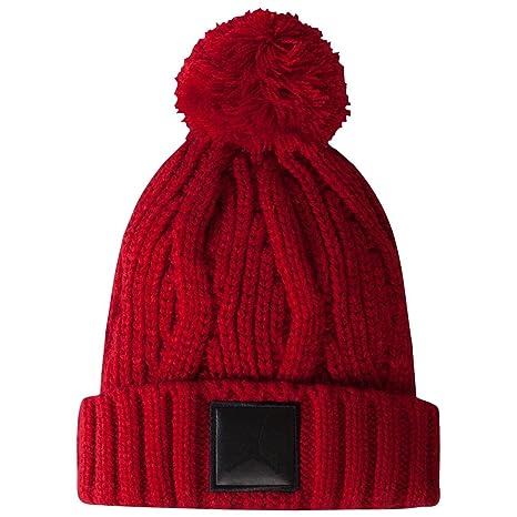 a17660cf2fb63 Nike Jordan Cable Knit Cuffed Cap Gorro de Invierno frío Sombrero (Rojo)  niño DE