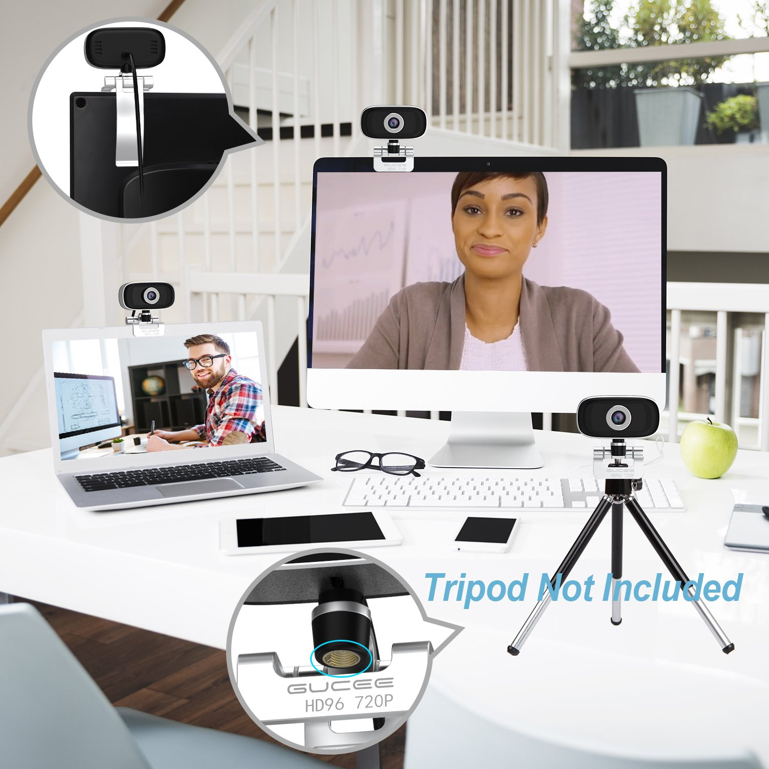 GUCEE HD96 720P HD Webcam with Tripod Ready Base (Tripod Not Included), Web Camera HD Microphone Wide Angle USB Plug and Play, Widescreen Calling Recording for Skype, Win 7 / 8 / 10, Apple Mac OS X by iRush (Image #5)