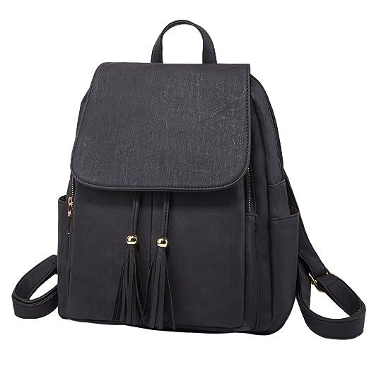 Amazon.com  Fashion Shoulder Bag Rucksack PU Leather Women Girls Ladies  Backpack Travel bag (Black)  Clothing e342272dd1103