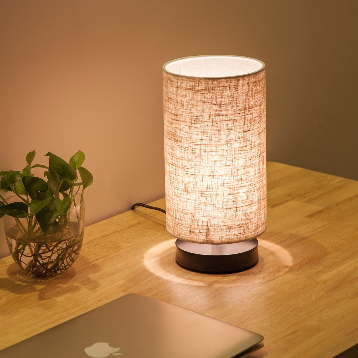 Lifeholder Table Lamp, Bedside Nightstand Lamp, Simple Desk Lamp, Fabric Wooden Table Lamp for Bedroom Living Room Office Study, Cylinder Black Base by lifeholder (Image #2)