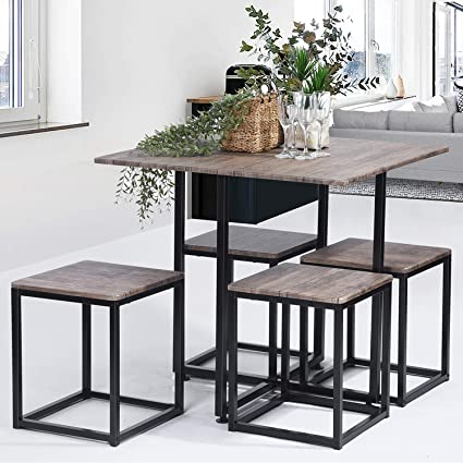 5 PCS Large Kitchen Dining Table Set, Nordic Minimalist Modern Home Dining  Rectangular Table and 4 Square Chairs with Metal Frame and Wooden Top for  ...