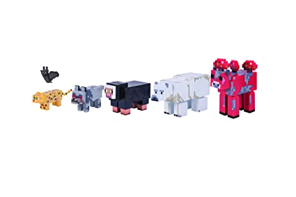 Amazon Com Minecraft Wild Animal Action Figure 6 Pack Toys Games