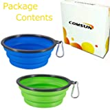 COMSUN 2-Pack Collapsible Dog Bowl, Food Grade