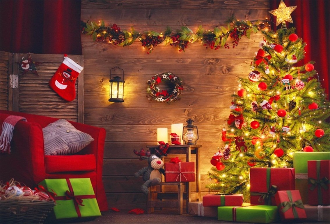 CSFOTO 6x4フィート 背景 素朴なクリスマス装飾用 写真背景 クリスマスツリー ギフト付き ソファ レトロ ランプ ガーランド 年式 家族 お祝い クリスマス 写真 スタジオ 小道具 ポリエステル 壁紙   B07DW9NGC3