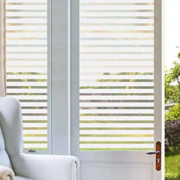 Amazoncom Coavas Stripes Frosted Window Film Static Cling - Window clings for home privacy