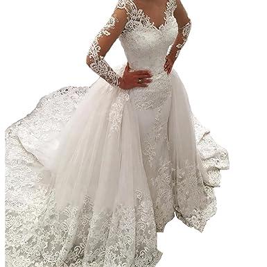 1192c6159e9 BEAUTBRIDE Womens Vintage Wedding Dress Long Sleeve Mermiad Detachable Train  Ivory 2