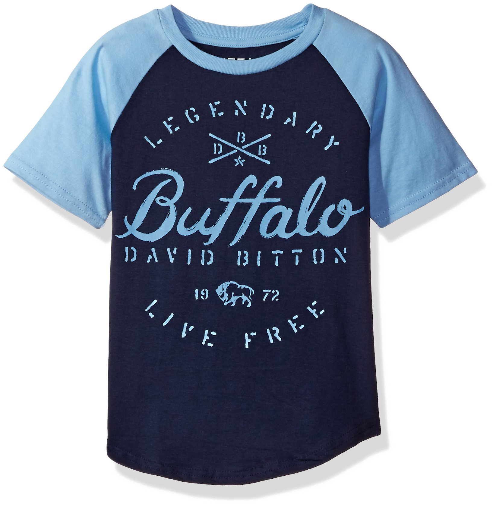 Buffalo by David Bitton Little Boys' Legend Short Sleeve Raglan Tee Shirt, Navy Blazer, 7