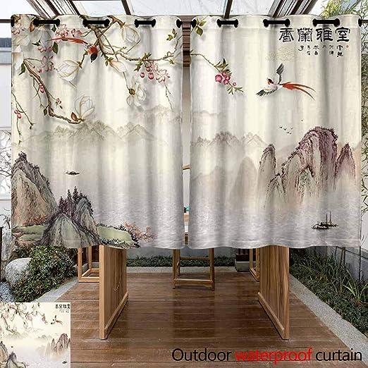 VIVIDX Home Patio Cortina de exterior – Cortinas térmicas aislantes a prueba de manchas decoración del hogar para césped y jardín, cortinas lavables a prueba de viento para exterior/exterior pantalla, 2 paneles,: