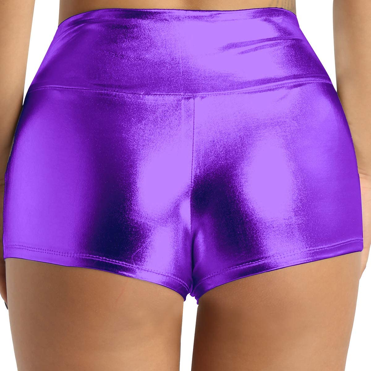 iEFiEL Women's Shiny Metallic High Waisted Booty Shorts Boyshort Dance Hot Pants Purple