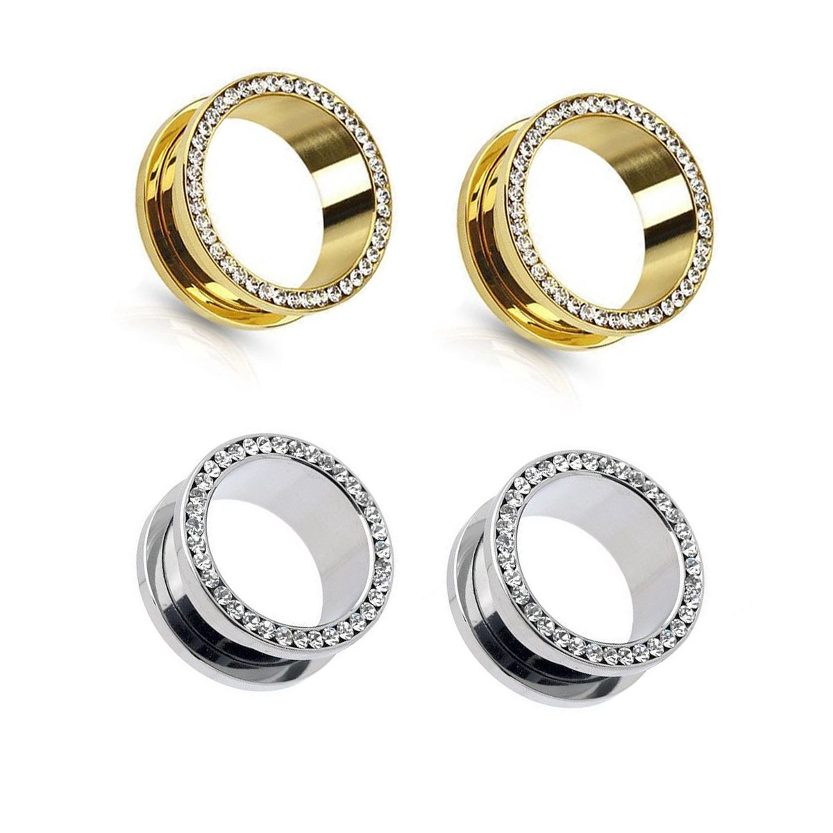 2 Pairs Screw Tunnel Expander Ear Plugs CZ Piercing Stainless Steel Piercing Jewelry MissDaisy